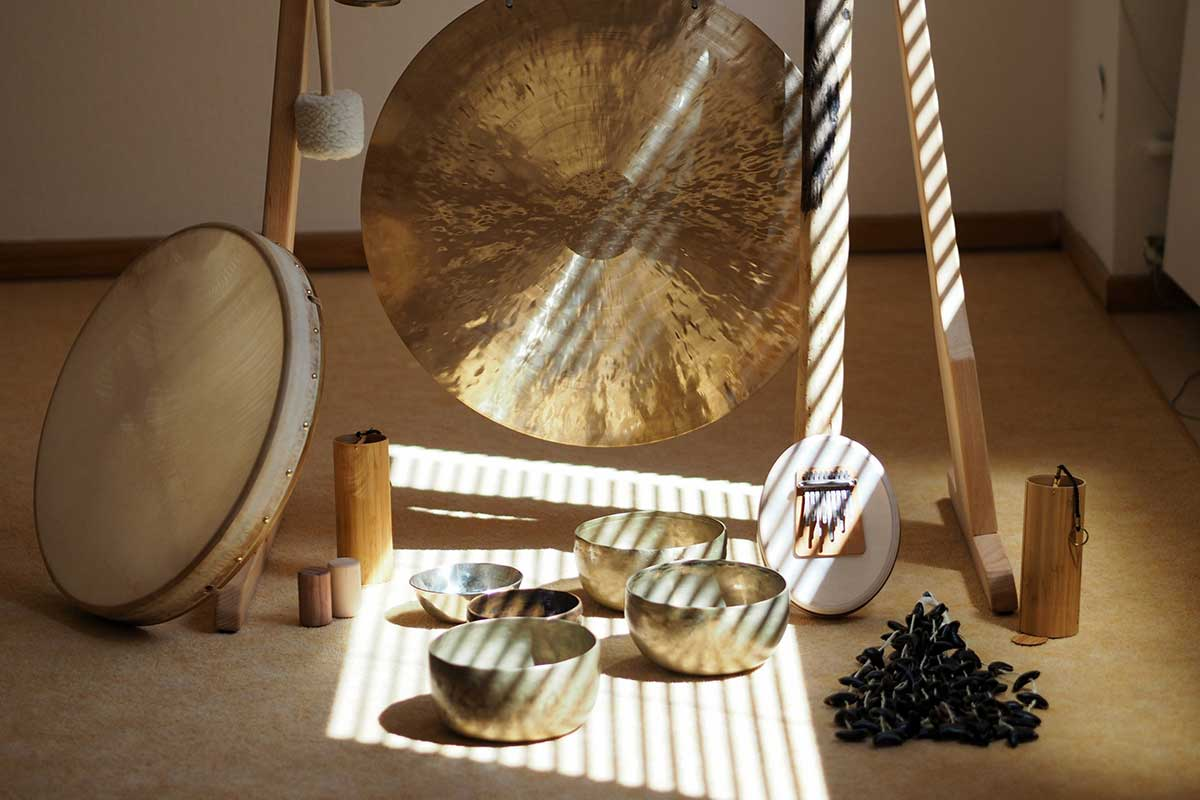 Gongs and other tools used for Sound Bath Healing