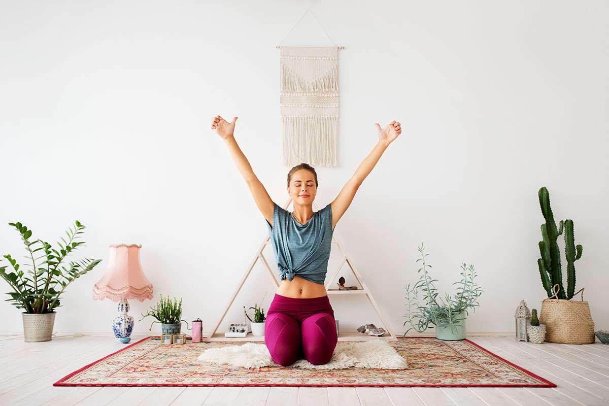 Girl on Yoga Mat practising the Ego Eradicator Kriya