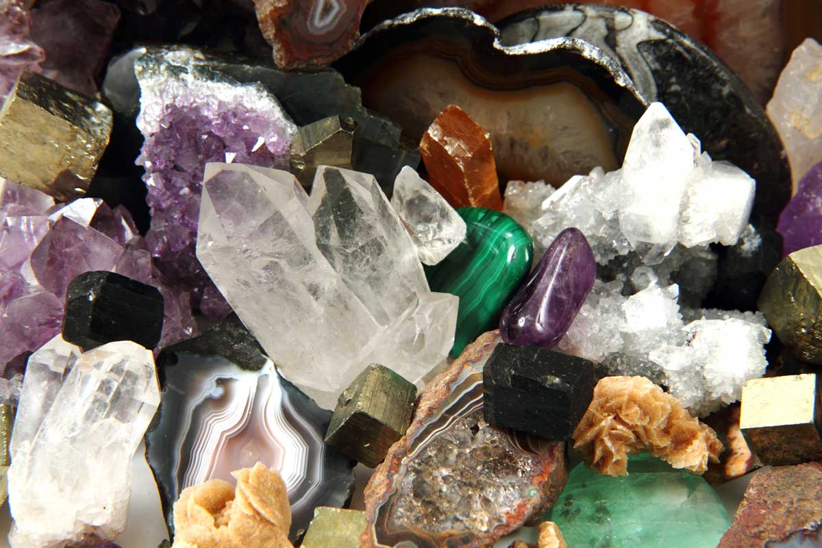 an assortment of colourful crystals