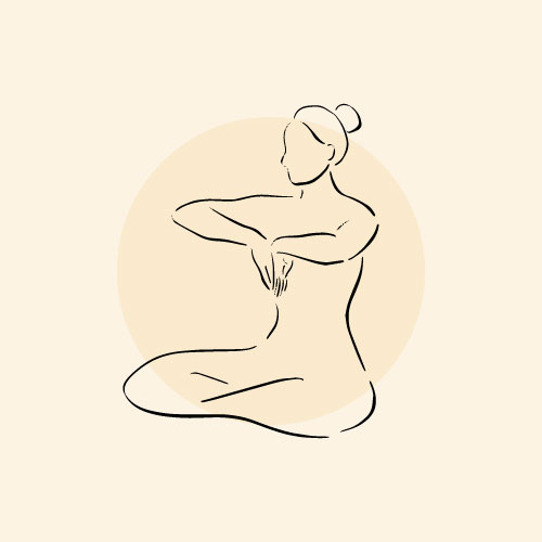Illustration of woman practicing breathwork for burn-out
