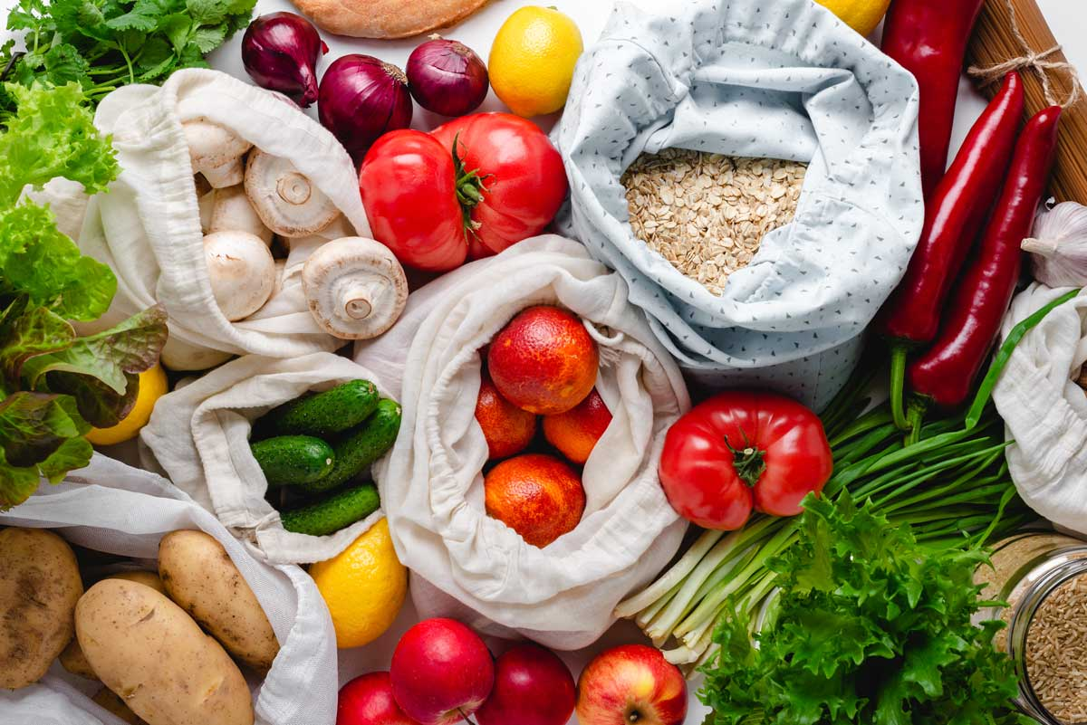 Sacks of vegetables and grains