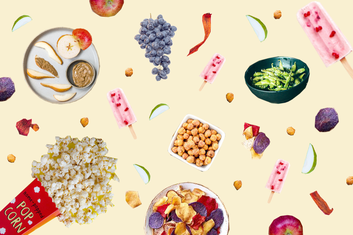 Collage of healthy plant-based snacks