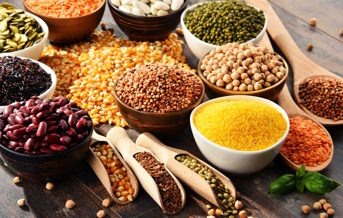 An assortment of colourful beans and pulses
