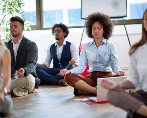 Indoor group meditation