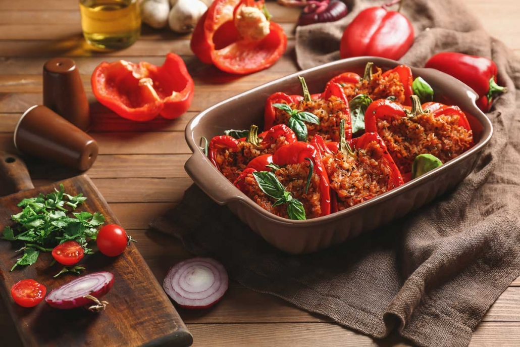 Tray of stuffed peppers