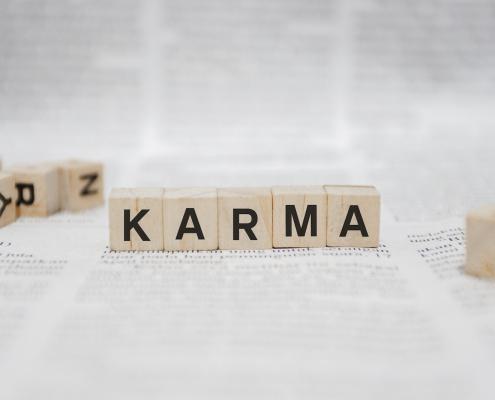 Karma Word Written In Wooden Cube